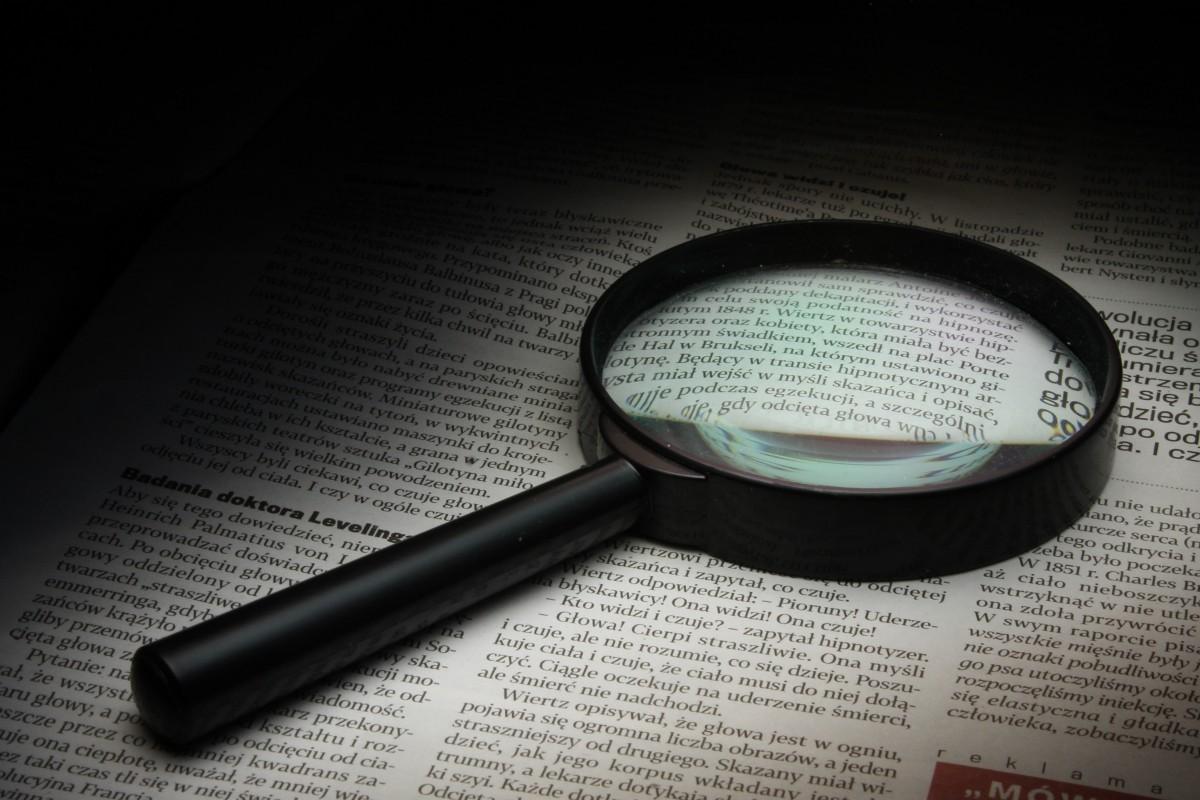 vaso, periódico, óptica, ojo, gafas, enfocar