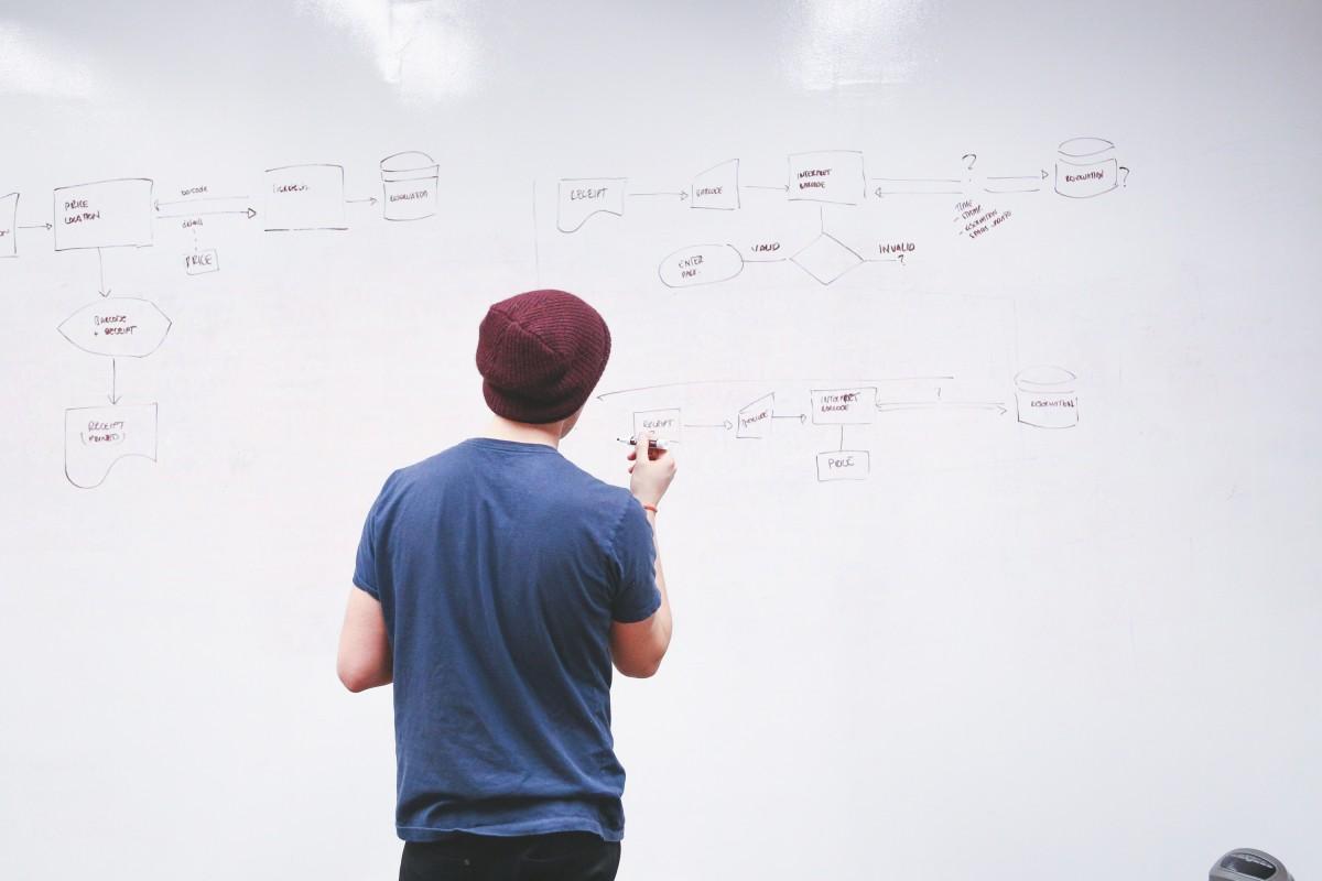 l'écriture main homme planche La technologie l'Internet Entreprise Entreprise écrire marque Commencez dessin conception afficher diagramme stratégie plan Tableau blanc Planification information forme conférence réseau présentation la gestion organisation Les données Explique la mise en réseau Organigramme