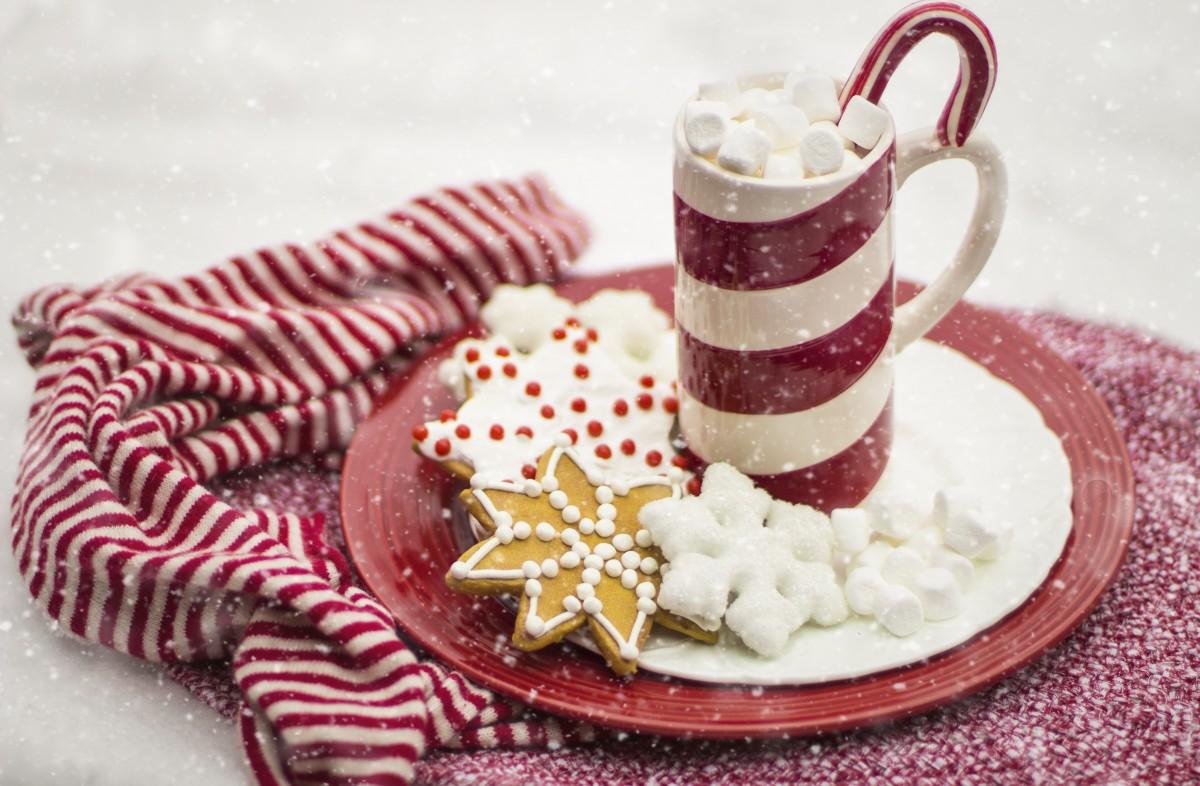sucre d'orge chocolat chaud cacao Noël vacances boisson boisson agresser rouge neige hiver de fête biscuits Rayures