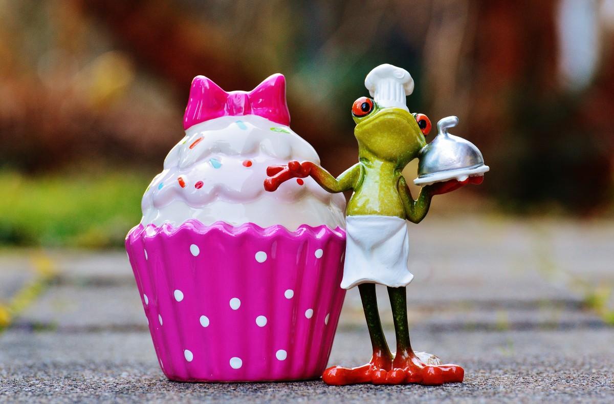 kopi bermain manis makanan merah memasak warna katak warna-warni berwarna merah muda cupcake pencuci mulut makan mainan krim lezat kue hidangan manis membakar kue kering tukang roti anak ayam rasa manis manfaat dari memperlakukan kue kecil menggigit pastry chef sepotong kue art pastry kue manis