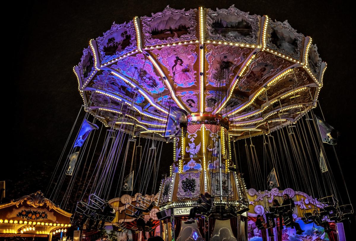 Free Images : ferris wheel, amusement park, long exposure