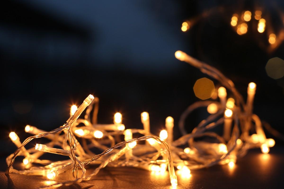 blur blurred background bokeh christmas decor christmas lights close up colors dark defocused electric light illuminated led lights lights luminescence night string lights