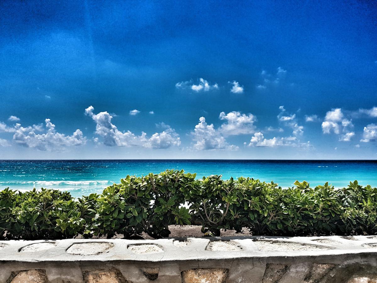 Bildet : Strand, hav, ferie, paraply, sikkerhet, caribbean, observasjon, Cancun, livvakt ...