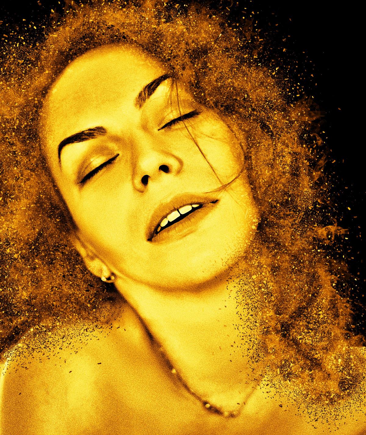 woman, hair, photography, female, portrait, yellow, close up, eyes closed, face, nose, art, eye, head, skin, beauty, beautiful, sexy, pretty, organ, seductive, emotion, ecstasy, erotic, sensual, album cover, smile model