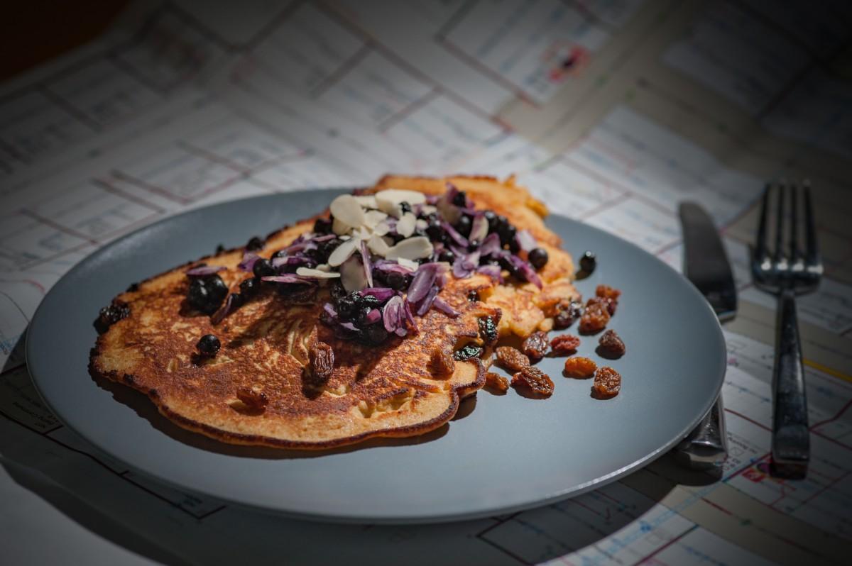 dish meal food produce breakfast baking waffle cuisine pancake almonds brunch raisins healthy cooking paleo food paleo pancake