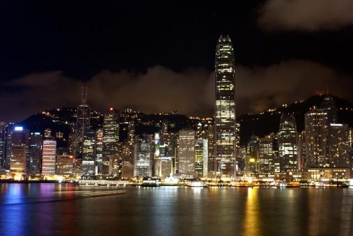 スカイライン,夜,見る,シティ,超高層ビル,都市景観