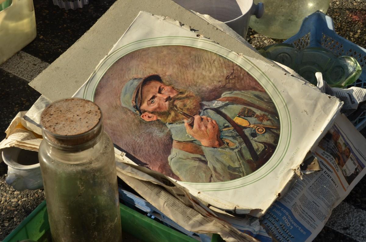 Antique Soldier Market Paper Painting Art