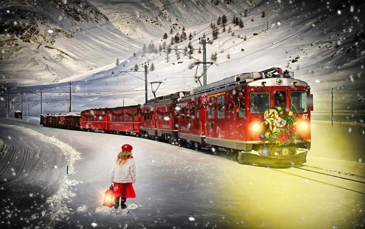Новорожденным, открытка поездом