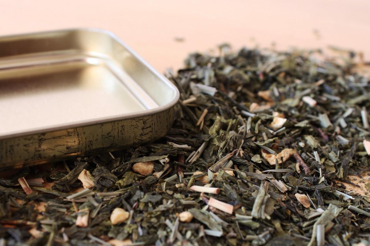 open warm morning leaf herb soil box breakfast storage hot lid tee good frisch herbs peppermint ill brew filled healing tea caddy metal box herbal tea