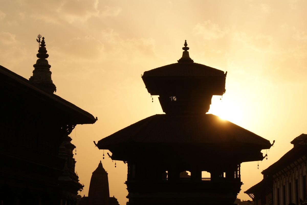 silhouette sunset night dawn dusk evening tower landmark place of worship nepal temple mosque kathmandu