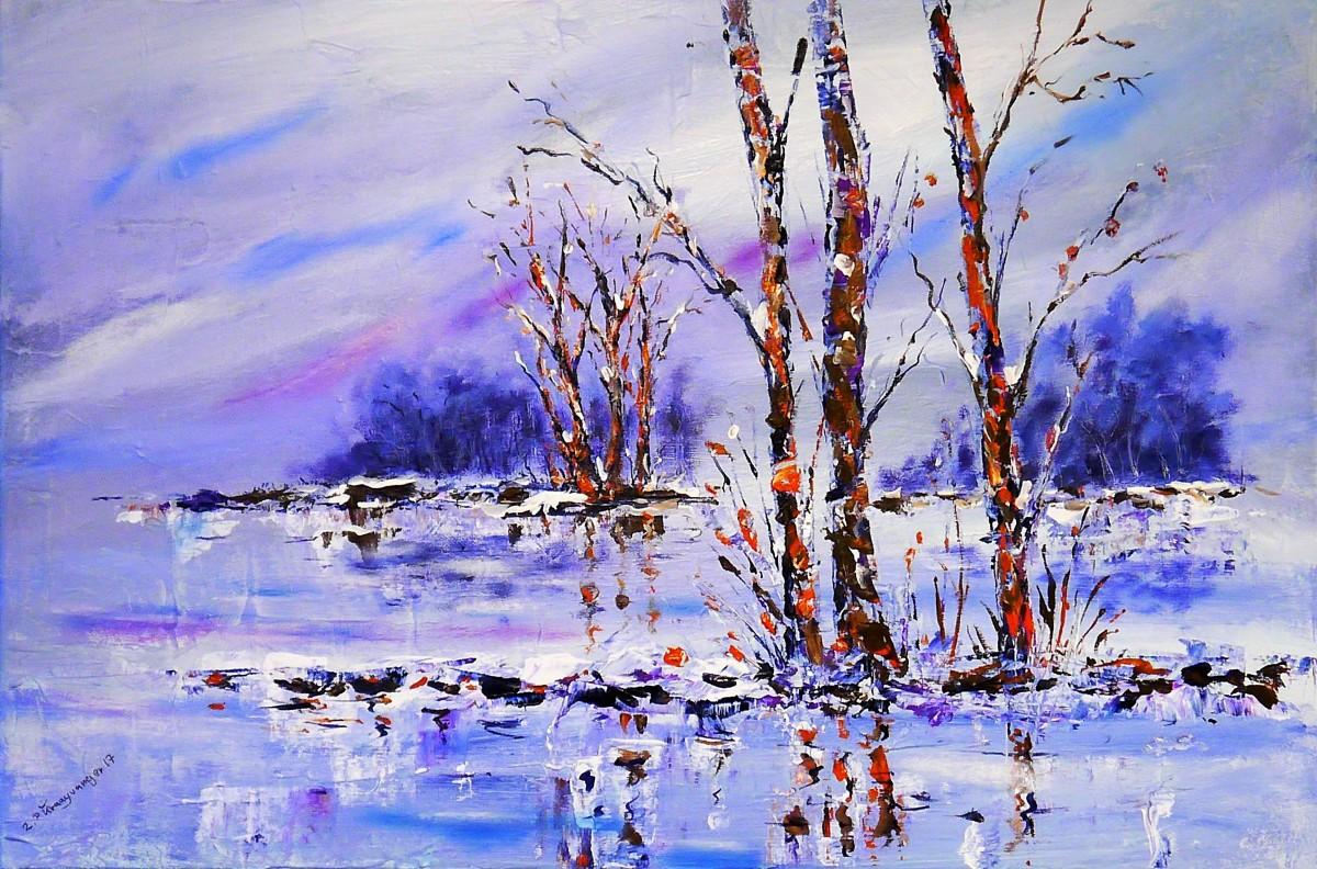 paysage arbre neige hiver fleur la glace réflexion bouleau Météo bleu éclairage saison La peinture art image Aquarelle peinture Peintures acryliques