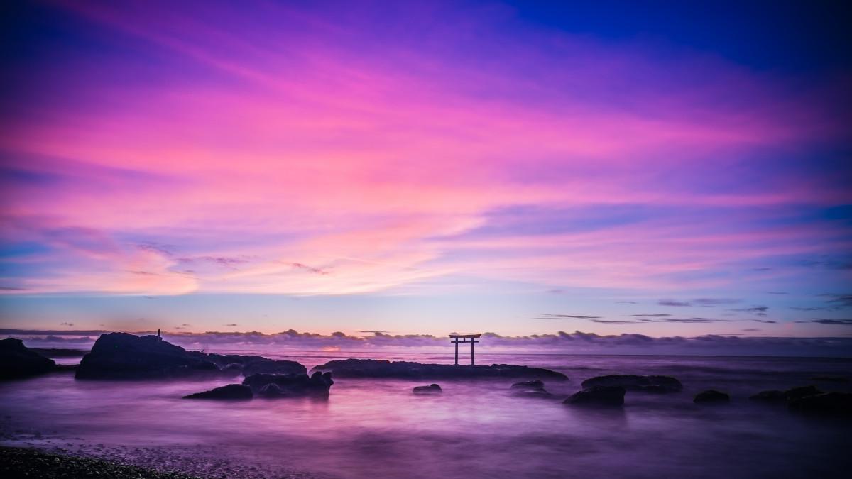 Gambar : Pantai, Laut, Lautan, Horison, Awan, Langit