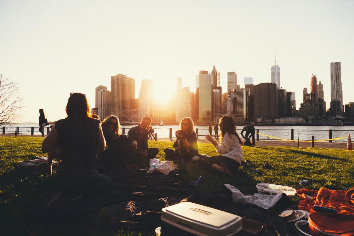 日落 天际线 早上 市 纽约 市容 黄昏 晚间 公园 朋友 野餐 人类住区
