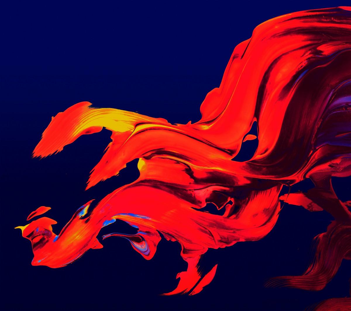 Fotoğraf Kanat Soyut çiçek Kırmızı Alev Boyama Illüstrasyon