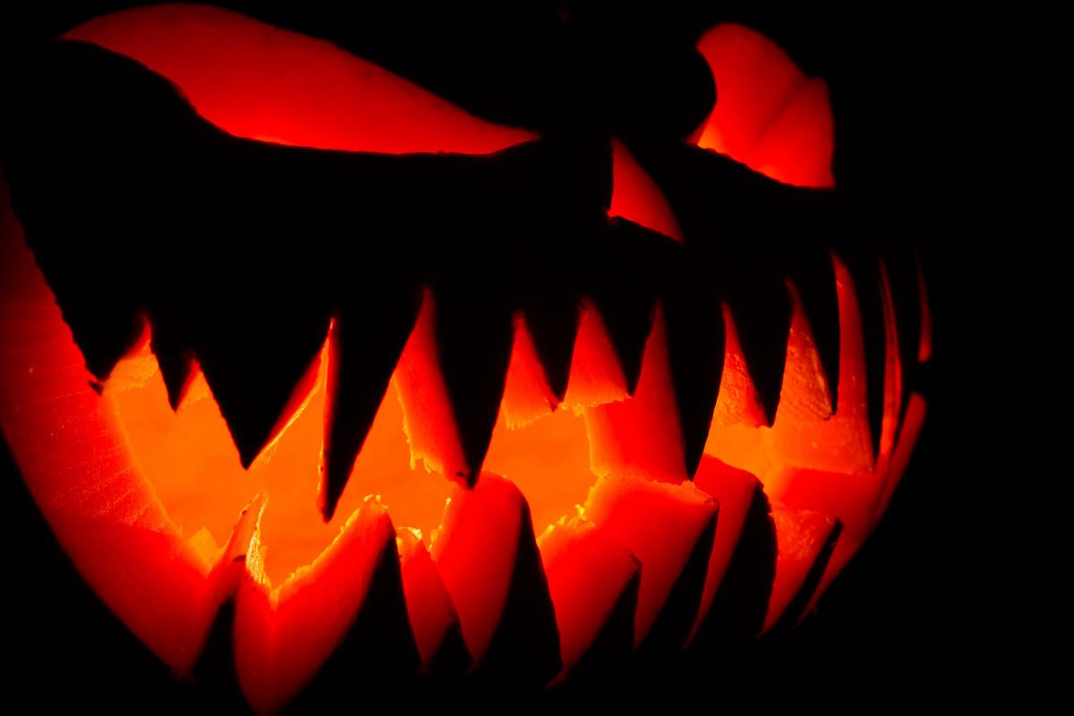 Bildet lett natt falle skummelt lykt h st - Calabazas de halloween de miedo ...