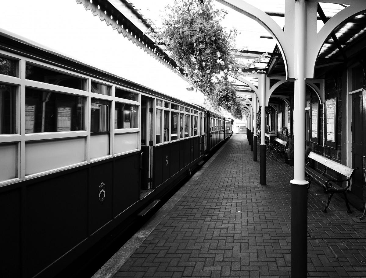 Black And White Track Railway Vintage Antique Retro