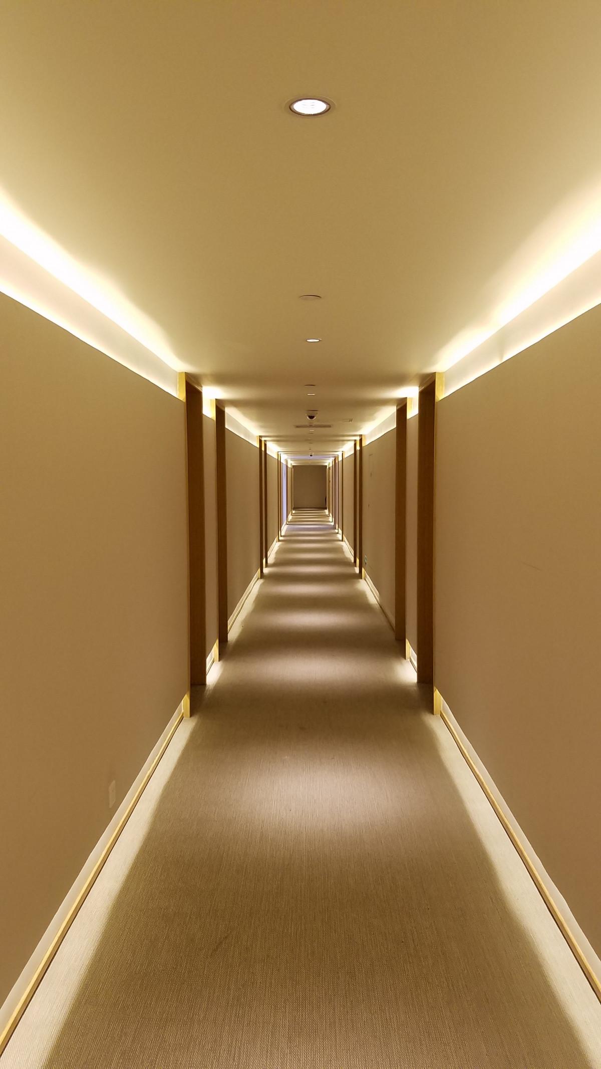 Free images floor ceiling hall empty room lighting for Hotel corridor decor