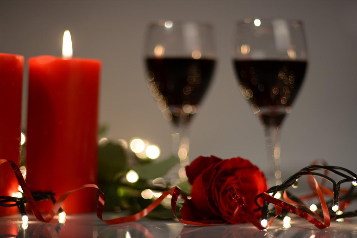 Kostenlose Foto Wein Blume Glas Rot Urlaub Kerze Weihnachten