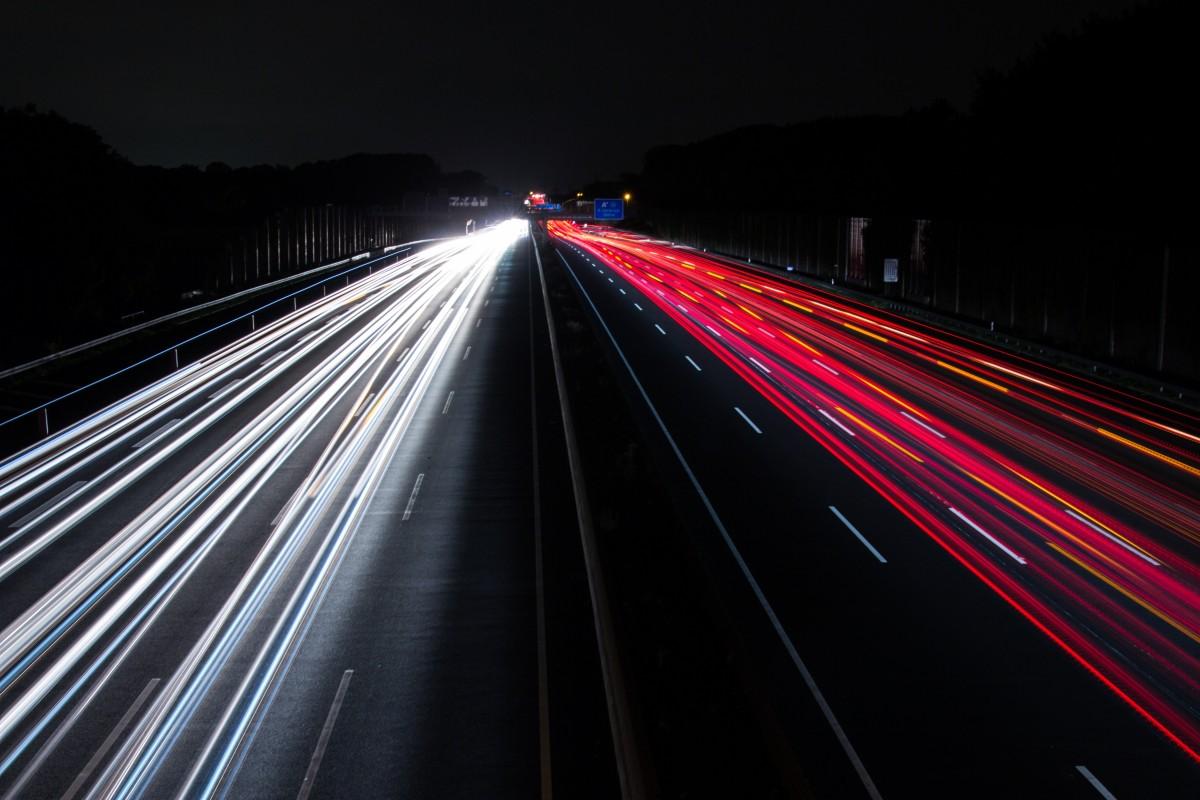 Free Images : lights, night, highway, motion, traffic ...