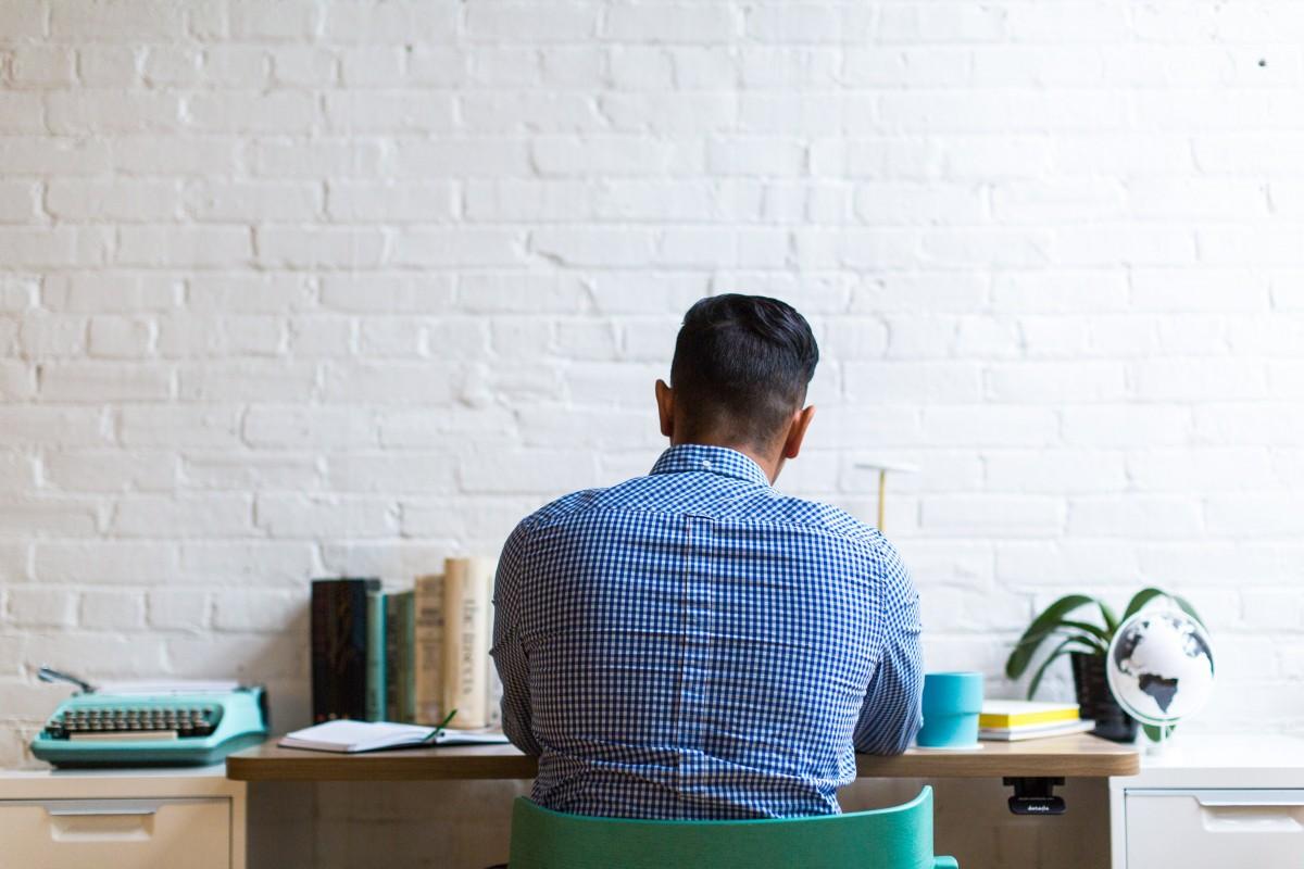 room, desk, furniture, sitting, tile, table, plant, office
