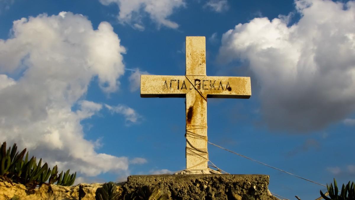 nube cielo Monumento símbolo religión cruzar Nubes cristianismo ortodoxo Chipre Cruz cristiana Ayia thekla