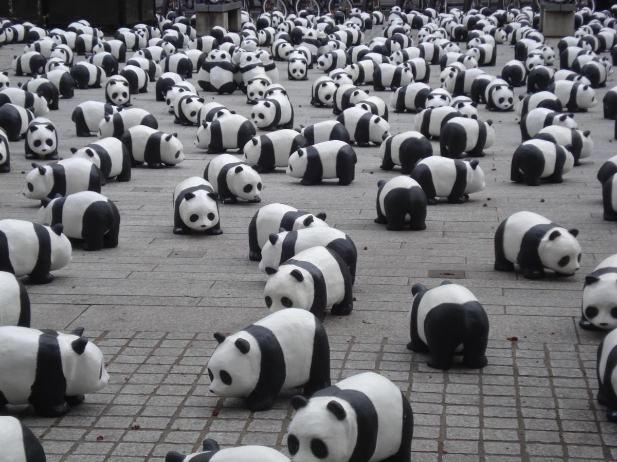 Toque fofa símbolo monocromático brinquedo miniatura Ursos Pandas exibição Massas Panda gigante Local de esporte