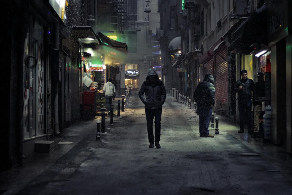 man, pedestrian, walking, snow, people, road, street, night, alley, city, alone, dark, stranger, color, darkness, lonely, lane, infrastructure, snapshot, gloomy, screenshot, urban area, human settlement