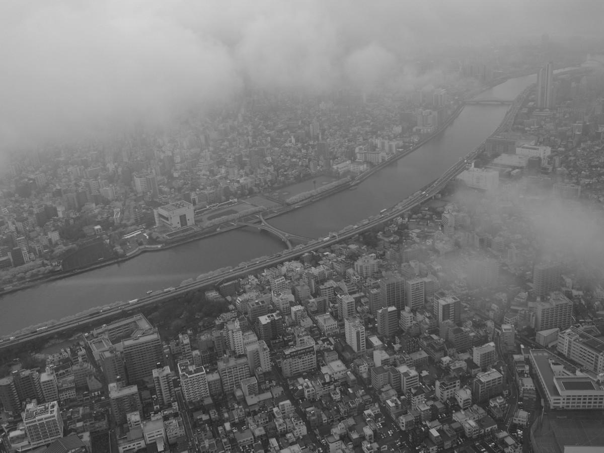 地平線 雪 雲 黒と白 霧 スカイライン 写真 シティ 雰囲気 超高層ビル 都市景観 フライト 天気 ヘイズ モノクロ 日本 東京 鳥瞰図 航空写真 モノクロ写真 スミダ川 東京スカイツリー 大気現象 地球の雰囲気