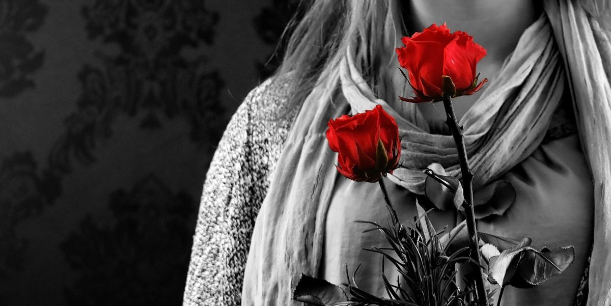 Images gratuites noir et blanc fille la photographie fleur amour cadeau rouge - Photo romantique noir et blanc ...