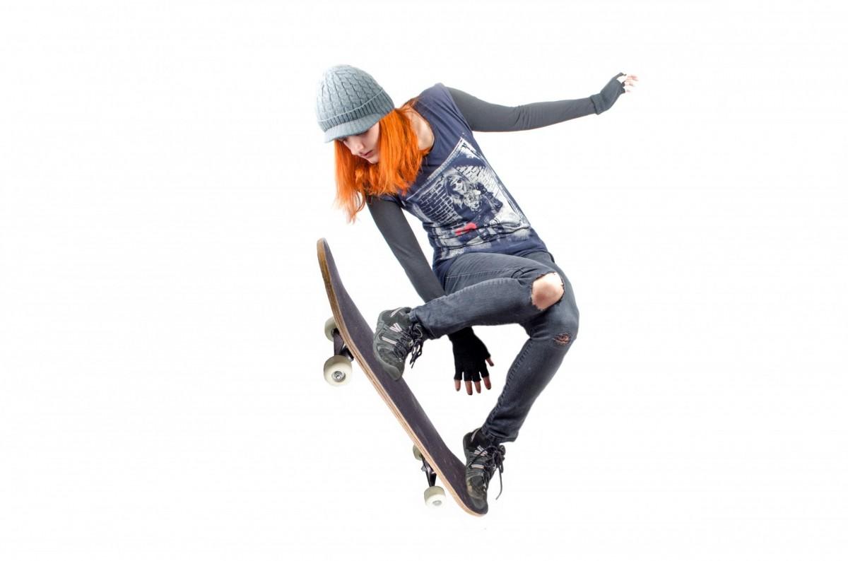 Gratis billeder People, pige, kvinde, Hvid, Air, Skateboard-9997