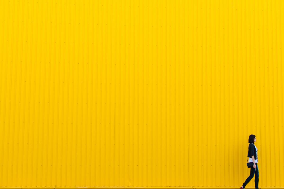 Free Images : walking, woman, texture, wall, orange, line ...