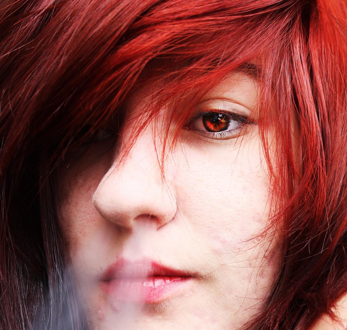 kostenlose foto m dchen frau haar rauchen portr t modell rot farbe dame rosa lippe. Black Bedroom Furniture Sets. Home Design Ideas