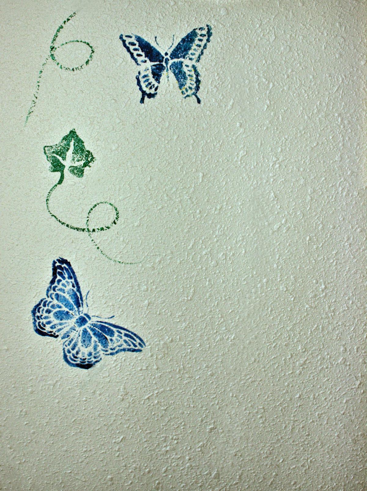 Трафарет бабочки для покраски на стене своими руками