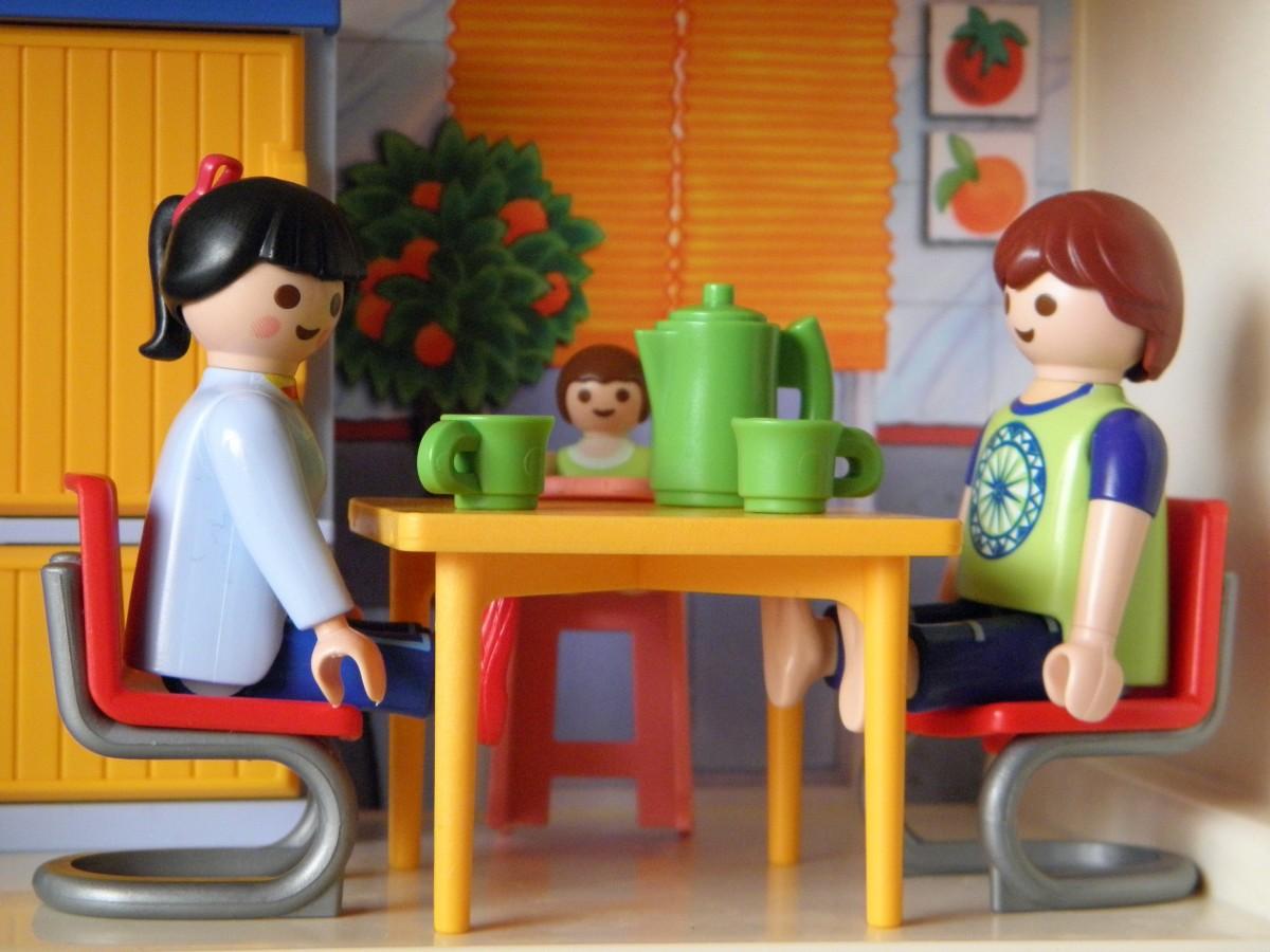 spelen keuken- kind kamer ontbijt speelgoed- playmobil familie speelgoed figuren spelkarakters