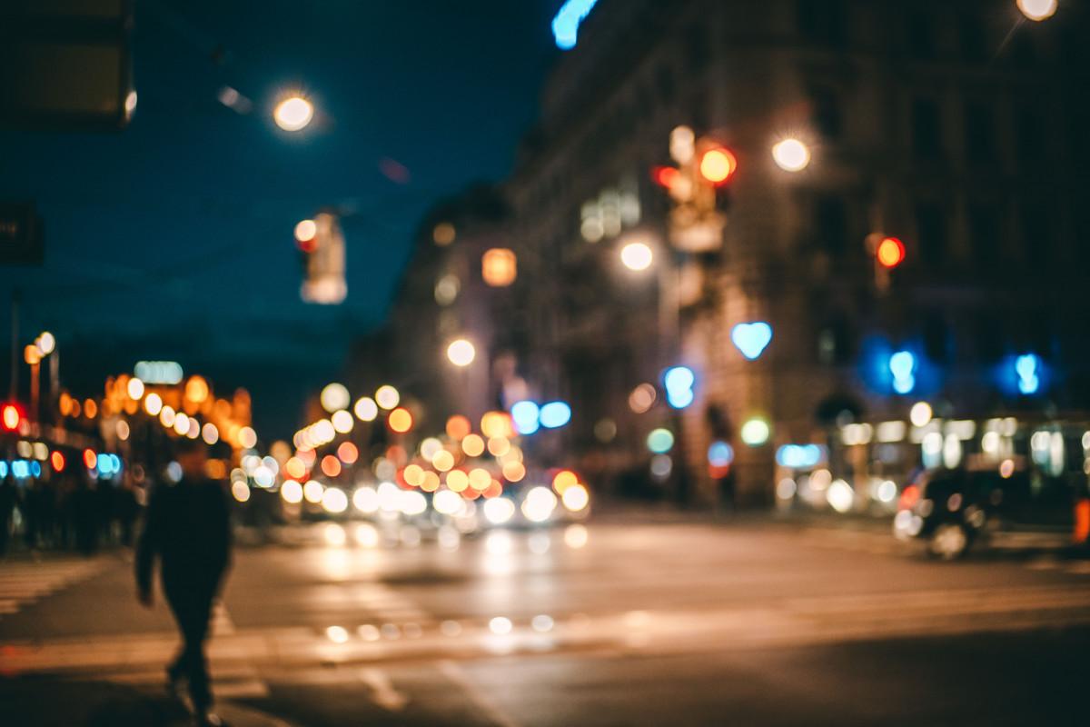 Gambar Cahaya Bokeh Jalan Malam Kota Perkotaan Orang Banyak Eropah Warna Hari Natal
